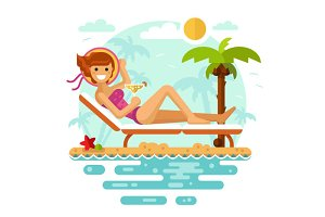 Sunbathing Girl Vector Illustration