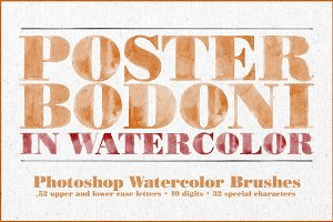 Poster Bodoni Watercolor Brushes