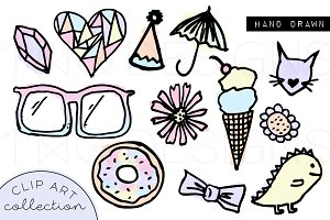 Kawaii Cute Pastel Doodle Clip Art