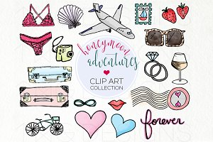 Honeymoon Travel Doodle Clip Art