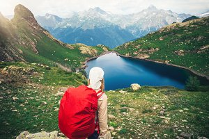 Woman Hiker with red backpack