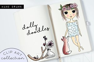 Paper Doll Doodle Clip Art