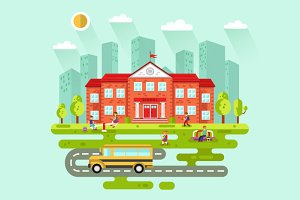 School with Pupils and Bus, Vector