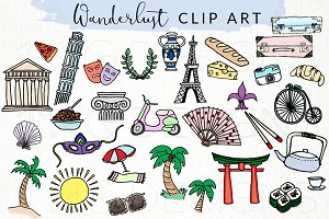 Travel World Icons Doodle Clip Art