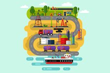 Oil Extraction Infographic Vector