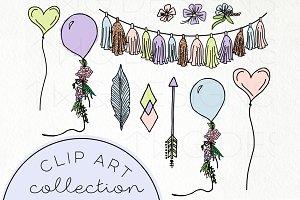 Pretty Pastel Party Doodle Clip Art