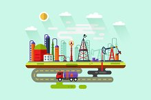 Oil Extraction Industry Vector