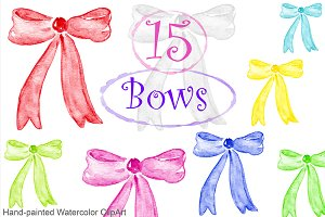 Watercolor Clipart - Bows