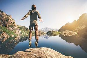 Man jumping Flying levitation