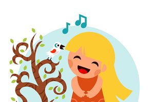 Girl Sing Bird