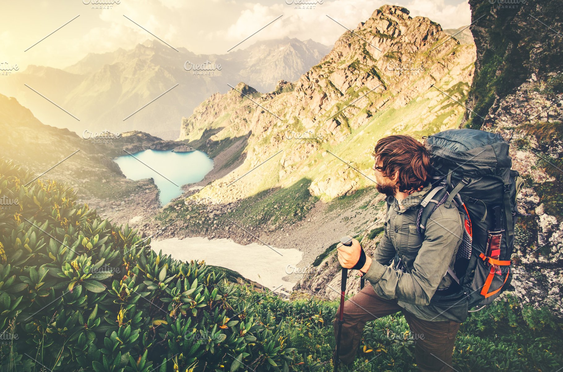 998f14b6ee17 Man Traveler with backpack ~ People Photos ~ Creative Market