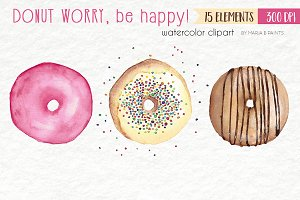 Watercolor Clip Art - Donuts