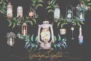Watercolor Vintage Lights Clipart