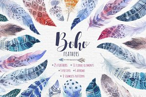 Bohemian watercolor feathers. Tribe