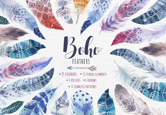 Bohemian Watercolor Feathers Tribe Illustrations On