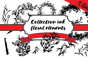 Set ink floral elements