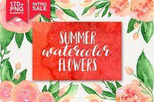 173 summer watercolor flowers