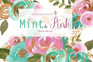 Mint and pink watercolor clipart