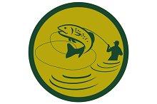 Trout Jumping Fly Fisherman Circle