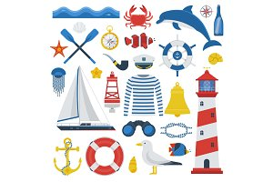 Marine Travel Sea Icon Set