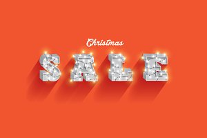 christmas sale typo template vector