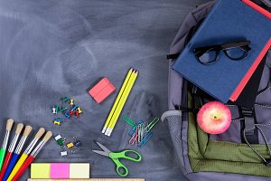 Student backpack and supplies