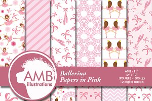 Ballet digital scrapbook paper-111