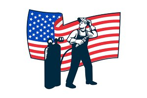 Welder Standing Visor Up USA Flag