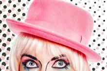 Girl pop art lipstick paint