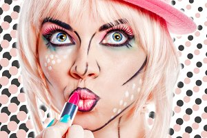 Girl pop art lipstick paint