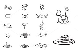 Set of 17 elements restaurant/ cafe