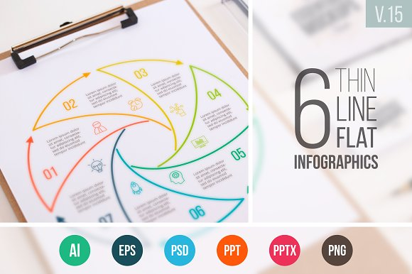 Linear elements for infographic v.15 - Presentations