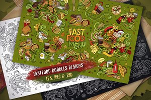 Fast Food Doodles Designs Set