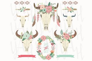 Floral Tribal Bison Skull
