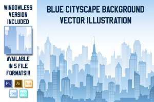 Vector Blue Cityscape Background