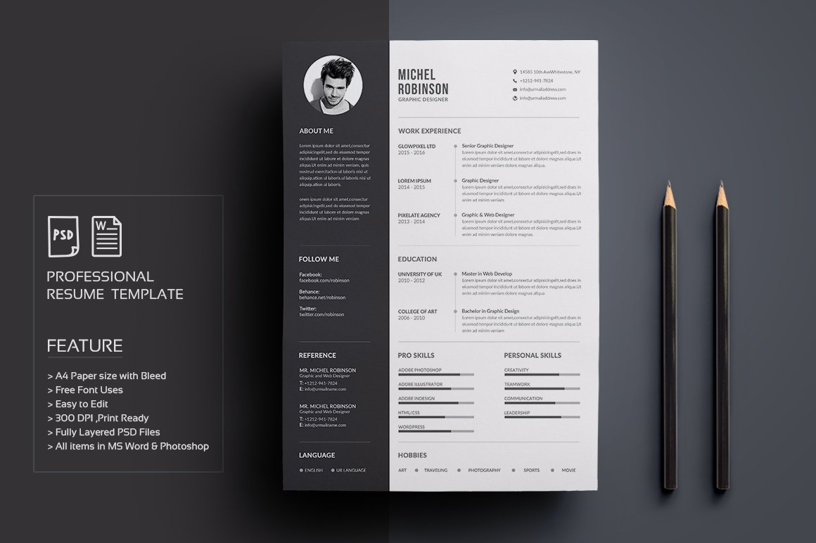 resumecv by deviserpark in templates - Free Creative Resume Templates Word