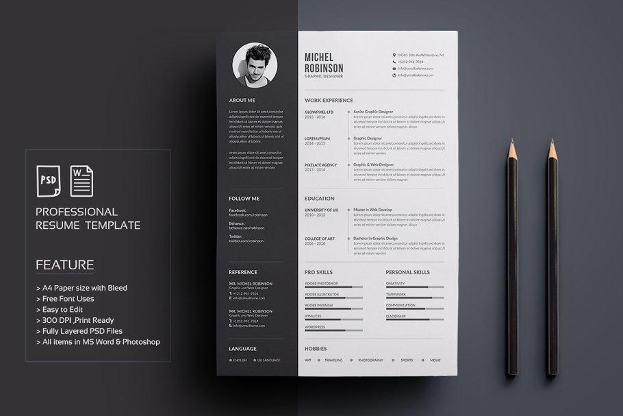 aca91eff Resume/CV ~ Resume Templates ~ Creative Market