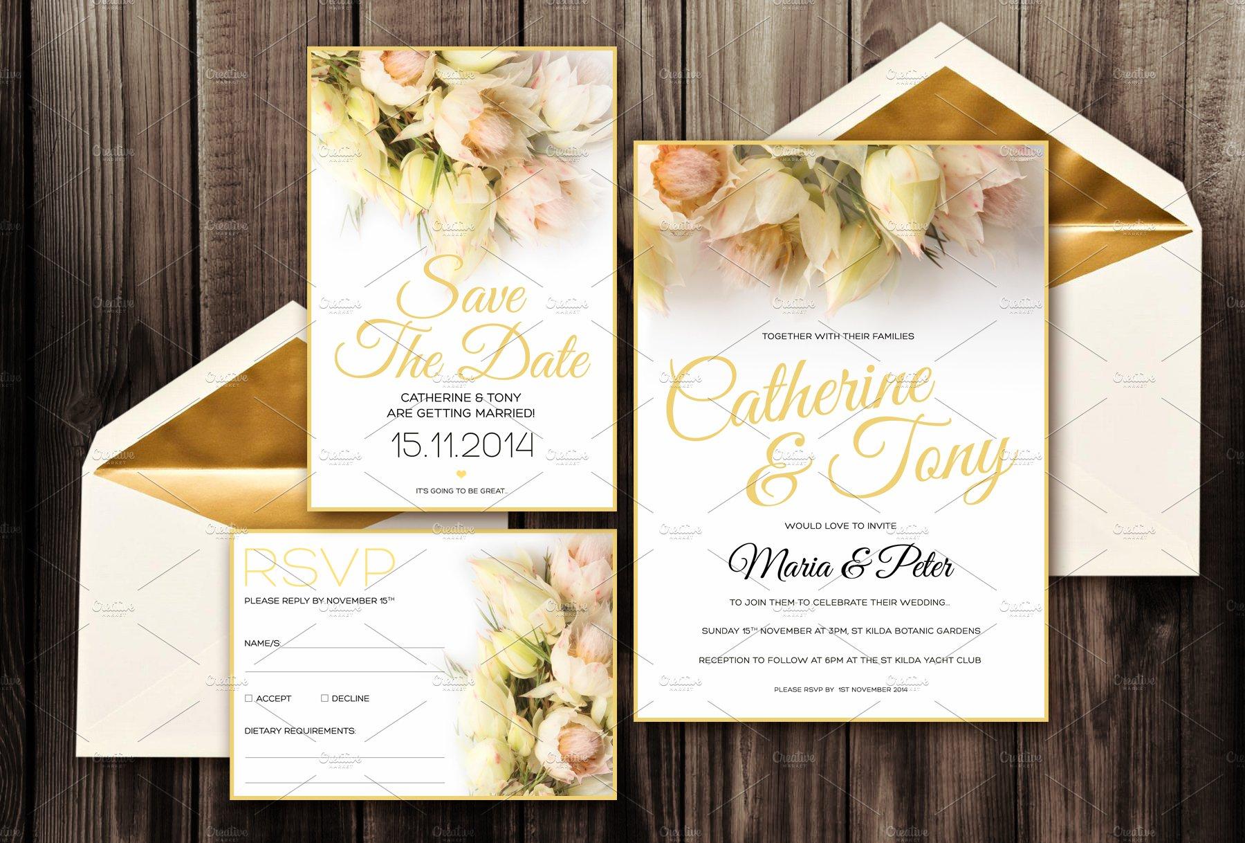 Blush Wedding Invitation Pack PSD ~ Invitation Templates ~ Creative ...