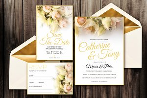 Blushing Bride Invitation Pack - PSD