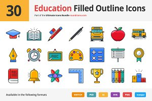 30 Education Filled Outline Icons