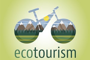 Eco tourism icon and logo