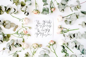 Calligraphy with inspirational quote
