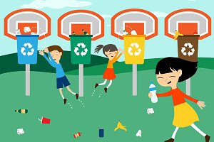 Children recycle playing at basket