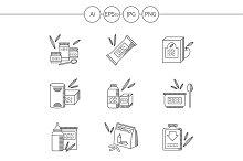Baby food black line icons. Set 3
