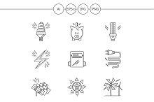 Saving energy line icons. Set 3