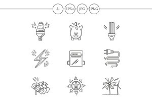 Saving energy line icons. Set 3