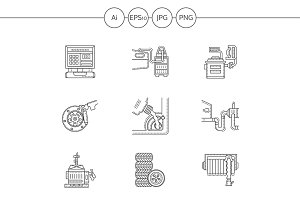 Car service flat line icons. Set 2