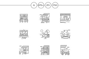 Cafe and bungalows line icons. Set 3