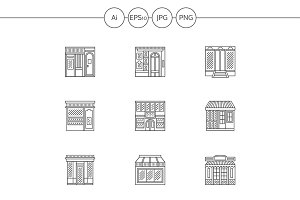 Store and shops line icons. Set 4