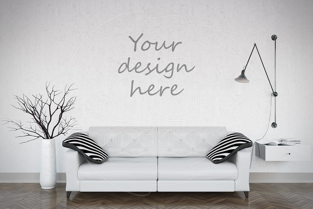 Blank wall mockup living room product mockups creative for Wall art templates free